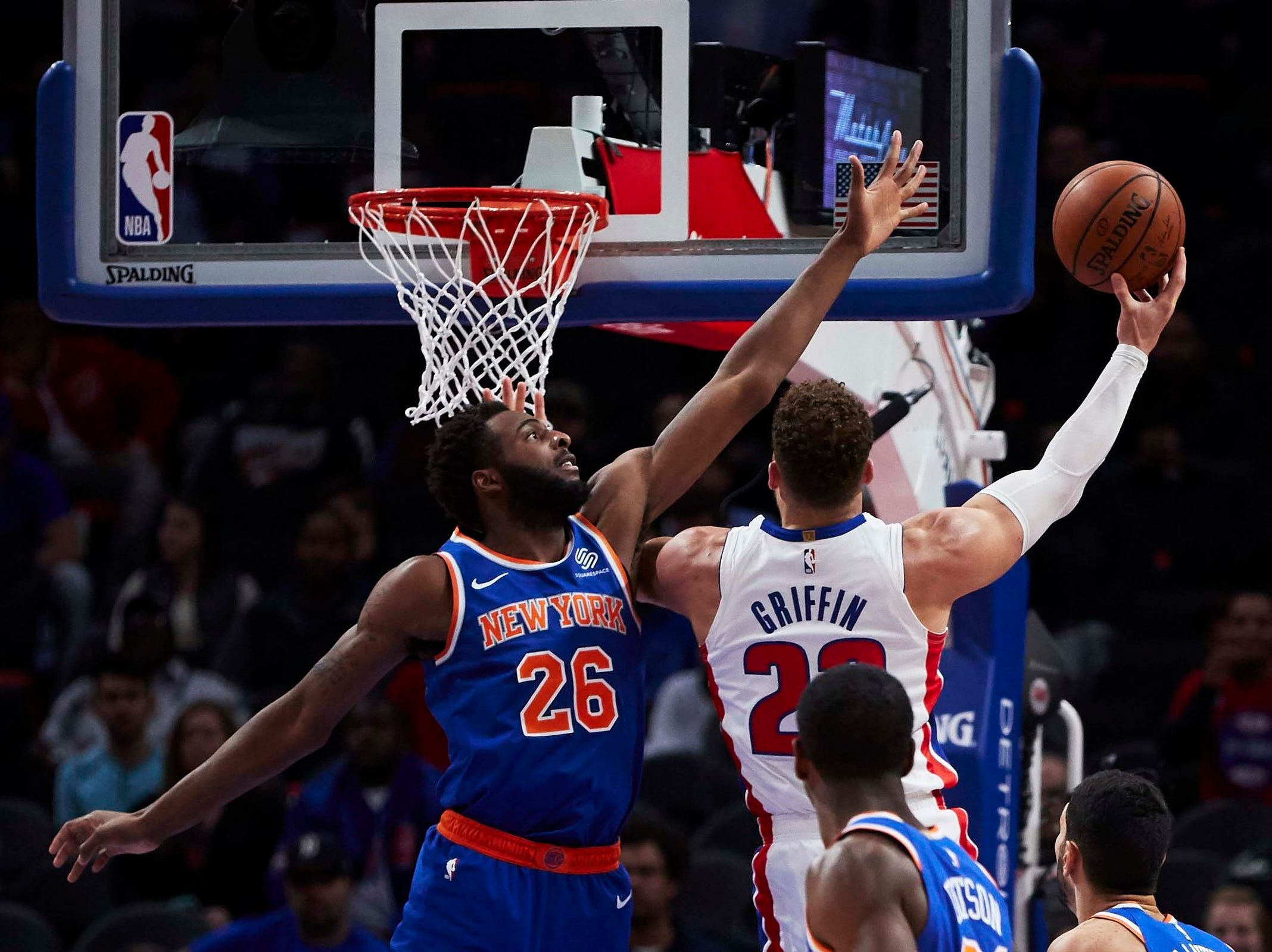 Detroit Pistons forward Blake Griffin (23) shoots on New York Knicks center Mitchell Robinson (26) in the second half at Little Caesars Arena.
