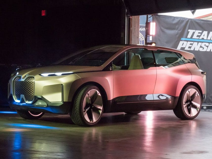 The BMW Vision iNEXT electric car is unveiled ahead of the LA Auto Show, November 27, 2018 in Los Angeles. The  Vision iNEXT is fully electric, fully connected and offers highly autonomous driving.