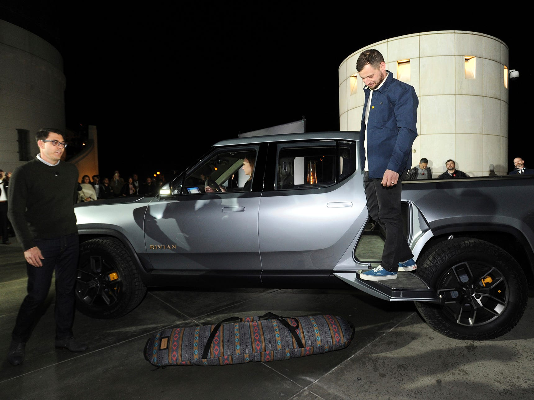 Rivian Founder and CEO RJ Scaringe, left, unveils the first-ever electric adventure vehicle at Griffith Observatory on Monday, Nov. 26, 2018 in Los Angeles.