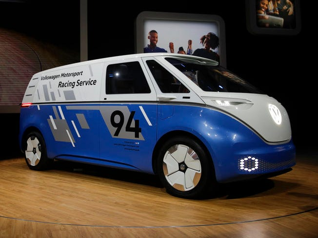 The Volkswagen Buzz Cargo concept is unveiled at the Los Angeles Auto Show Wednesday, Nov. 28, 2018, in Los Angeles.