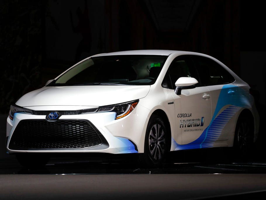 A 2019 Toyota Corolla Hybrid is shown during the Los Angeles Auto Show on Wednesday, Nov. 28, 2018.