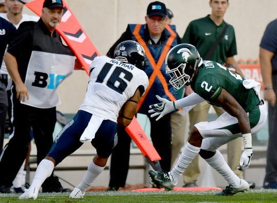 Michigan State cornerback Justin Layne (2) could have a decision to make regarding the NFL Draft.