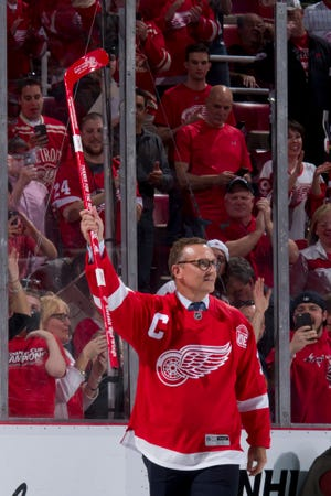 Former captain Steve Yzerman is introduced for the post-game ceremony.                Photos are of the Detroit Red Wings vs. the New Jersey Devils during the last game at Joe Louis Arena, in Detroit, April 9, 2017.   (David Guralnick / The Detroit News)