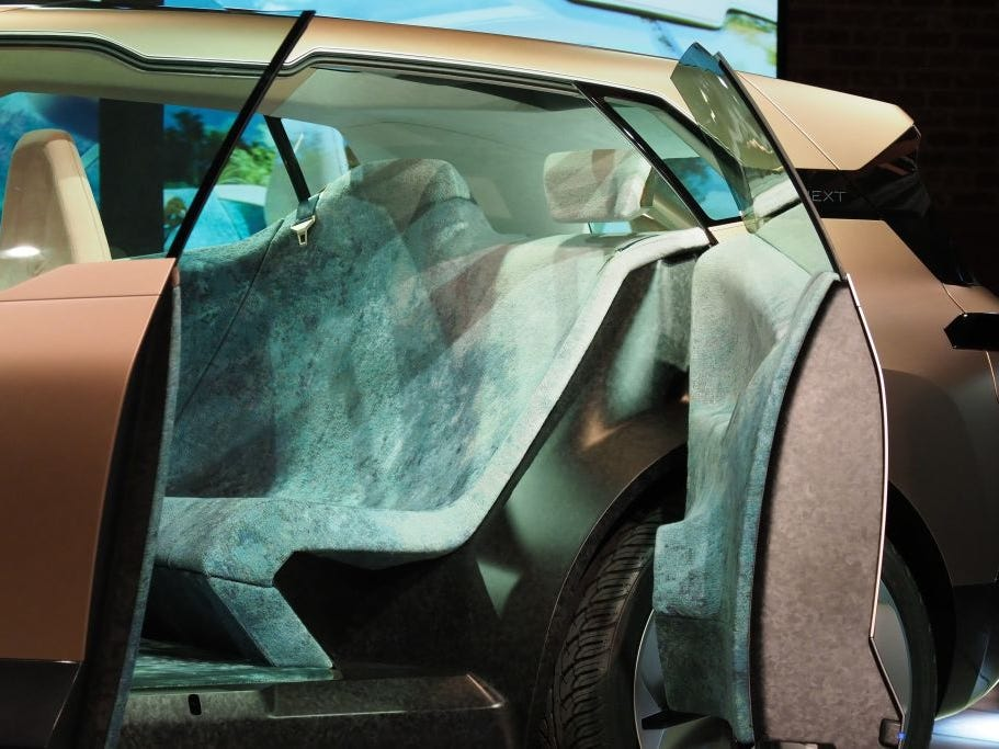 A view of the back seat of the BMW Vision iNEXT autonomous electric car.