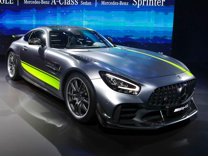 The 2020 Mercedes-AMG GT R Pro takes the stage at the Los Angeles Auto Show Wednesday.