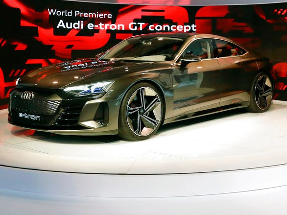 The Audi e-tron GT concept car is seen during the Los Angeles Auto Show on Wednesday, Nov. 28, 2018.