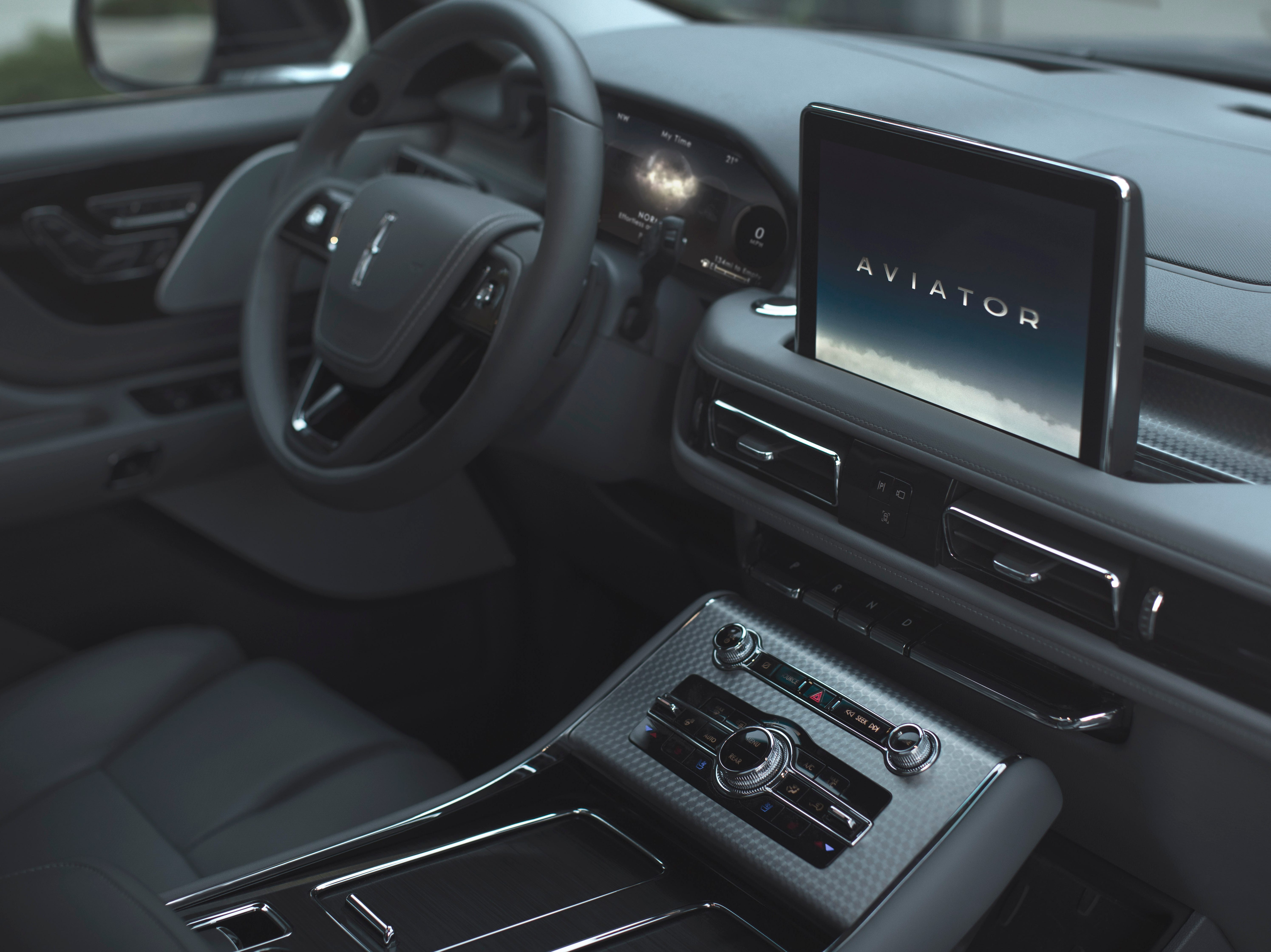 The all-new 2020 Lincoln Aviator has a 12.3-inch, fully digital instrument display, 10.5-inch console touchscreen, optional, signature 30-way seats, and individual rotary knobs for audio, climate control, and drive modes.