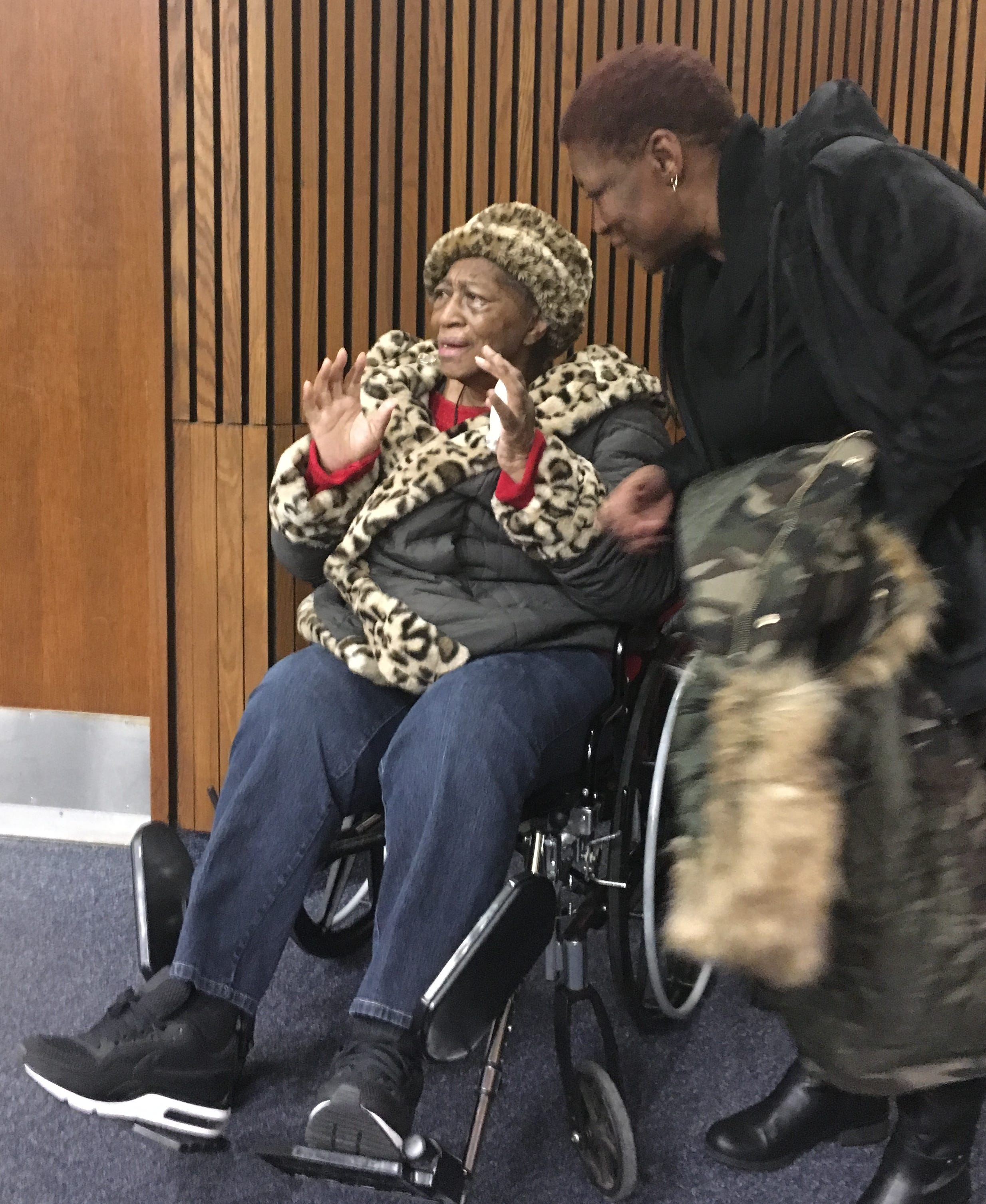 Earnestine Smith, the mother of Kendrick Scott, reacts to news that her son and his co defendant were exonerated Wednesday of a 1999 murder conviction.