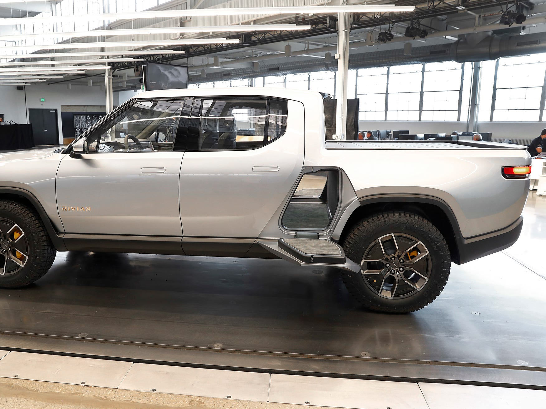 A Rivian R1T sits at Rivian headquarters in Plymouth last November.
