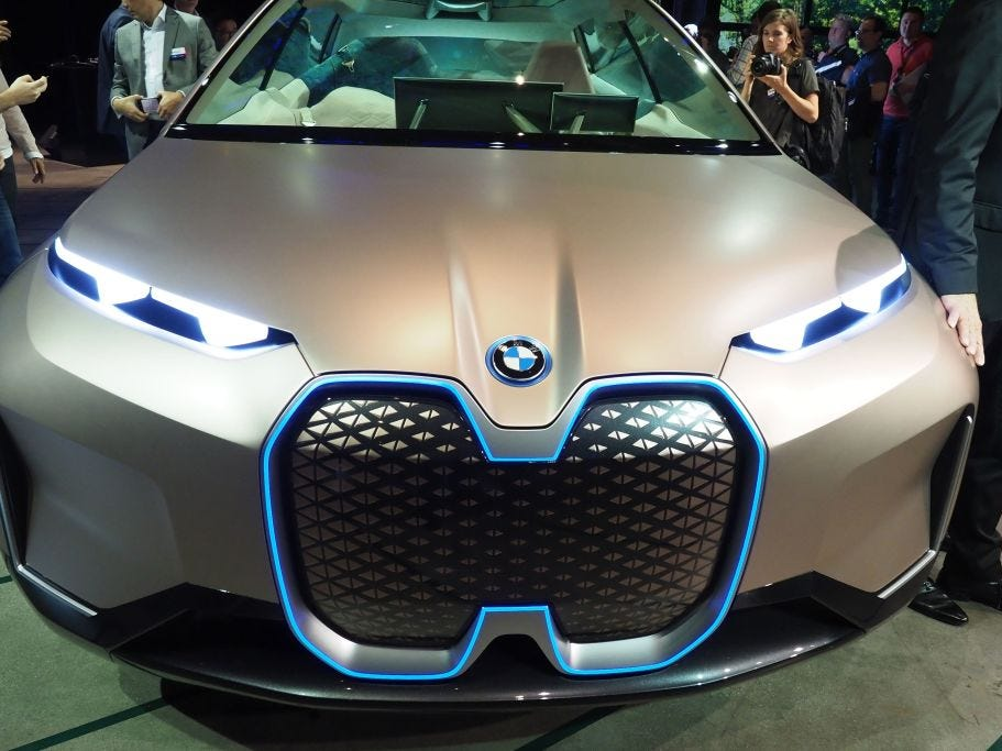 A view of the front grille of the BMW Vision iNEXT autonomous electric car at a special unveiling event ahead of the LA Auto Show, November 27, 2018 in Los Angeles.