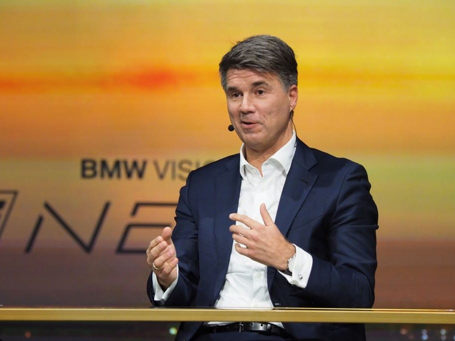 BMW CEO Harald Kruger speaks at the unveiling of the BMW Vision iNEXT autonomous driving electric car, ahead of the LA Auto Show, November 27, 2018 in Los Angeles.