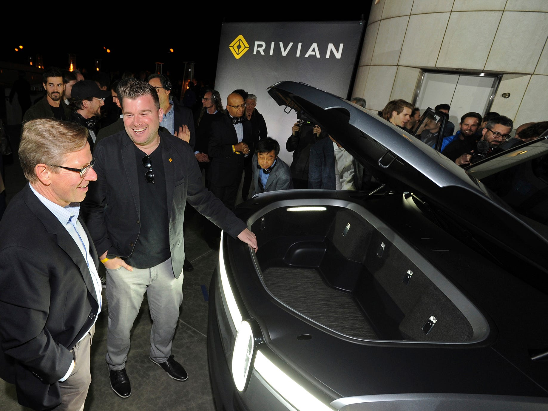 Rivian unveils the first-ever electric adventure vehicle before its official reveal at the LA Auto Show at the Griffith Observatory on Monday, Nov. 26, 2018 in Los Angeles.