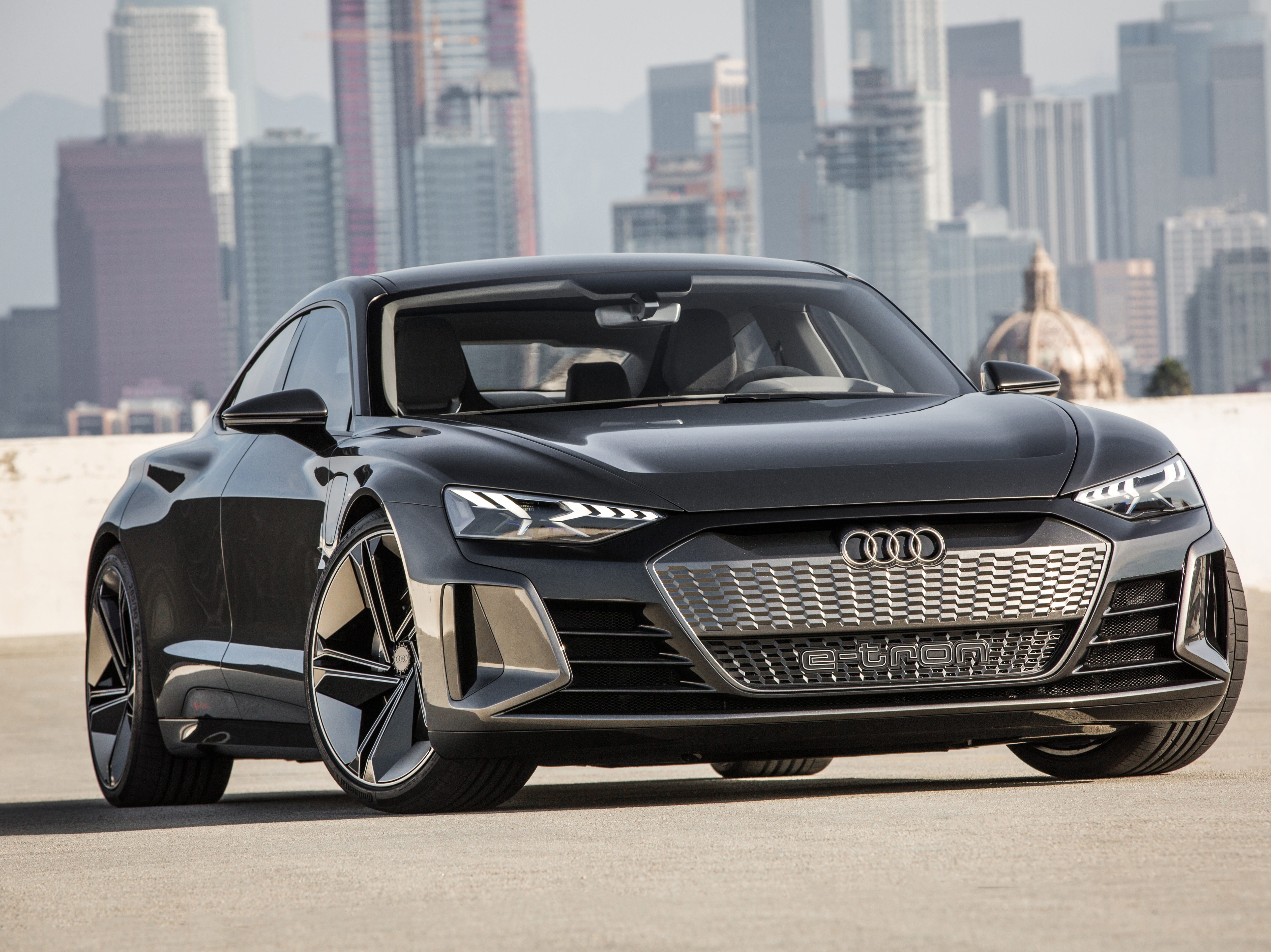 The electric powered Audi e-tron GT concept four-door coupe