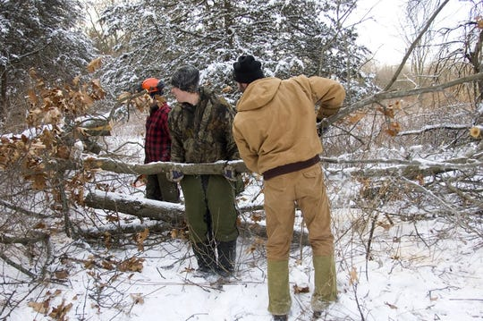 In March 2018, a group of 12 volunteers worked on a project at the Dansville State Game Area that connected a forest road from the Hewes Lake DNR access lot to the lot at Seven Gables Road. The brush piles created also made for great rabbit habitat.