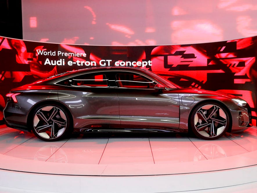 An Audi e-tron GT concept car is shown during the Los Angeles Auto Show.