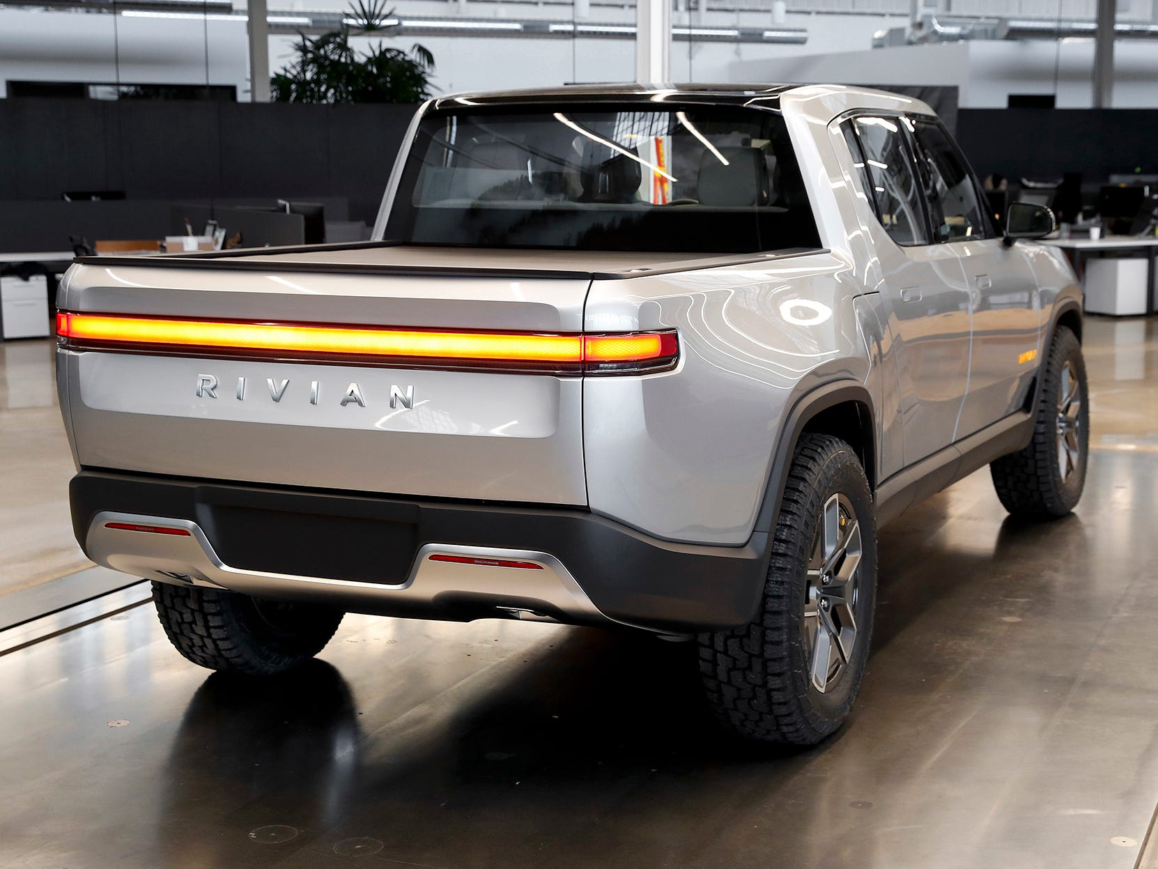 This Wednesday, Nov. 14, 2018, photo shows a Rivian R1T at Rivian headquarters in Plymouth, Mich.