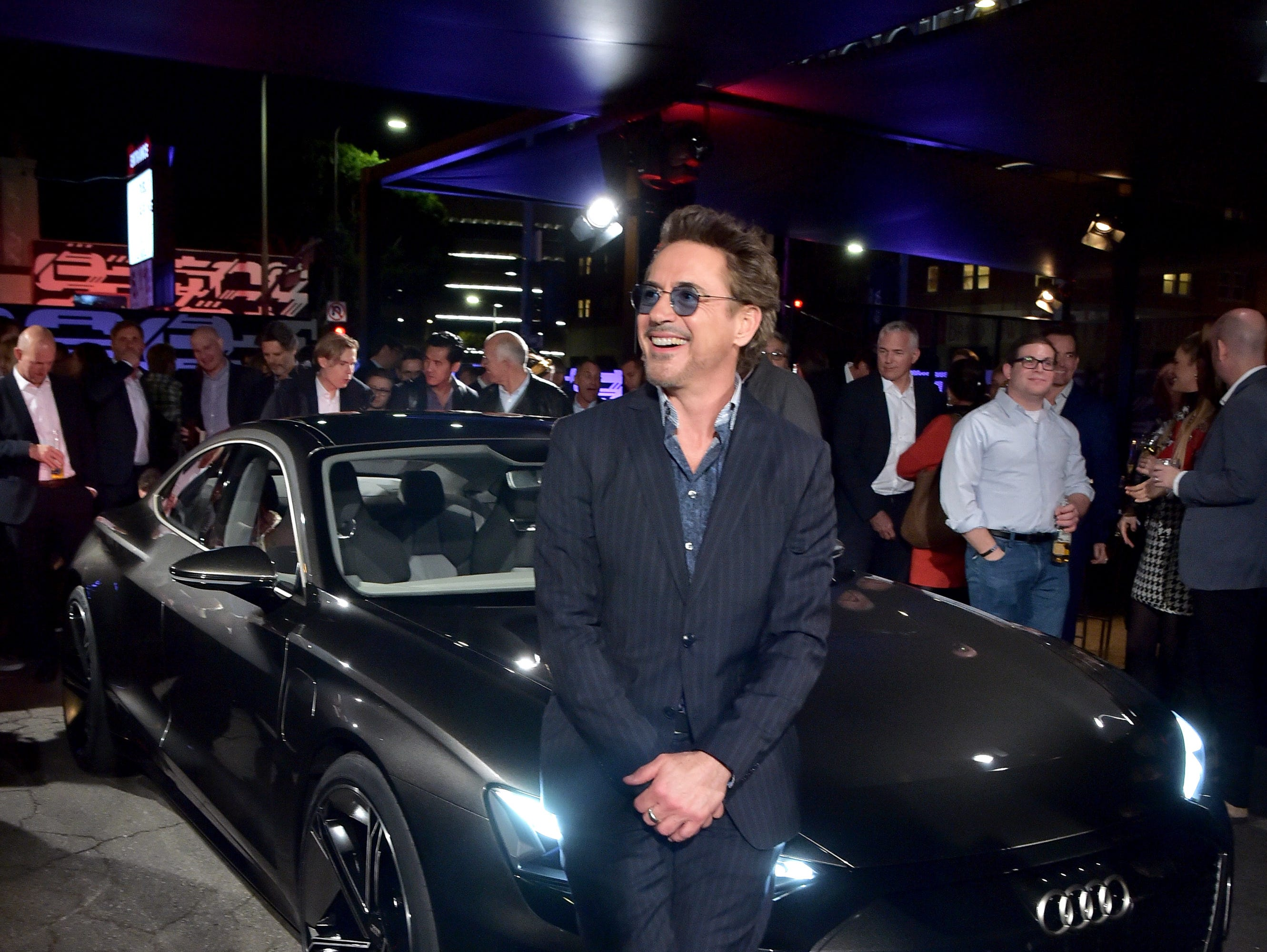 Robert Downey Jr. attends the global reveal of the Audi e-tron GT concept in Los Angeles on Monday, November 26th, 2018.