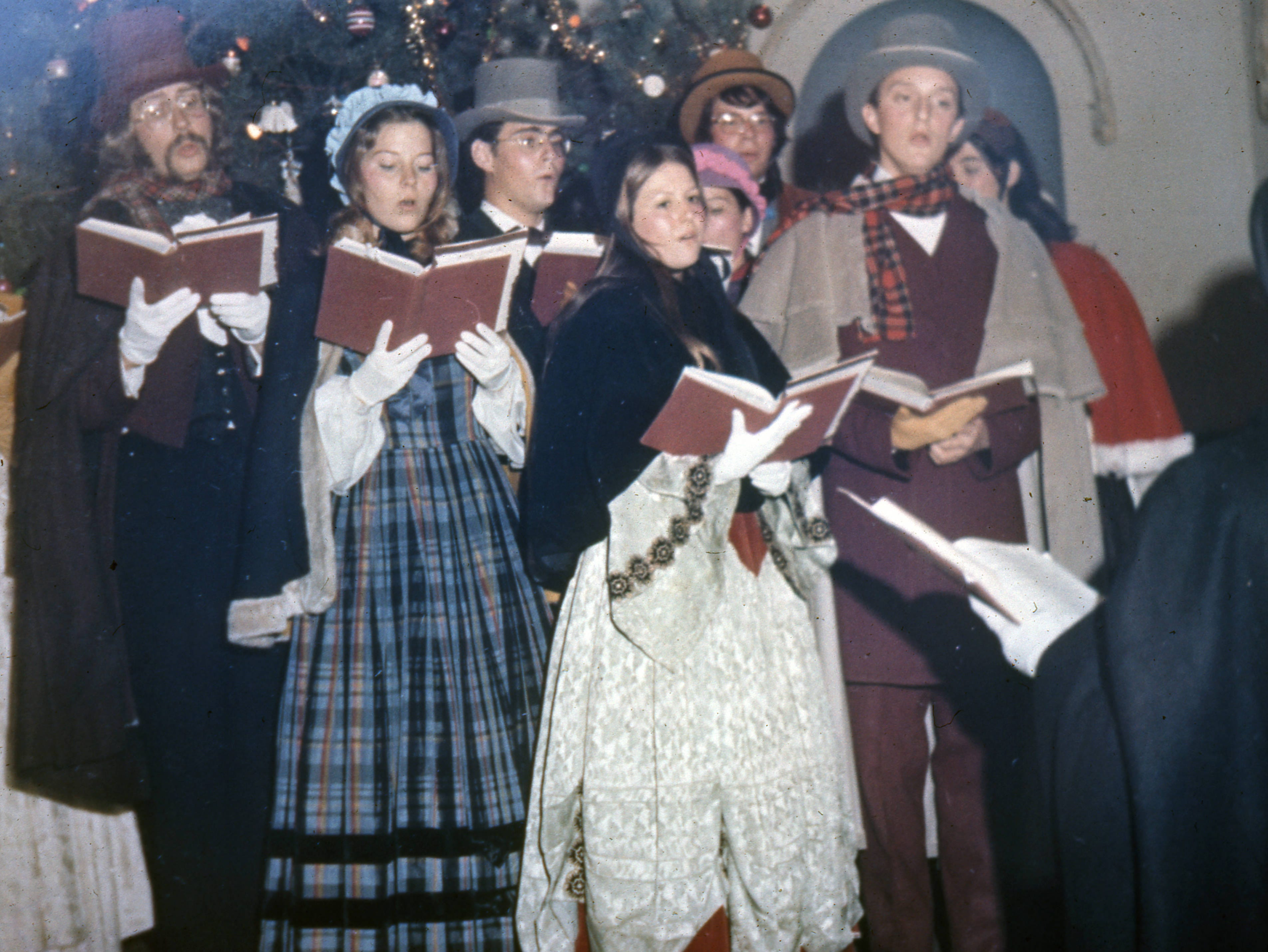 Christmas caroling at the Vanderburgh County courthouse