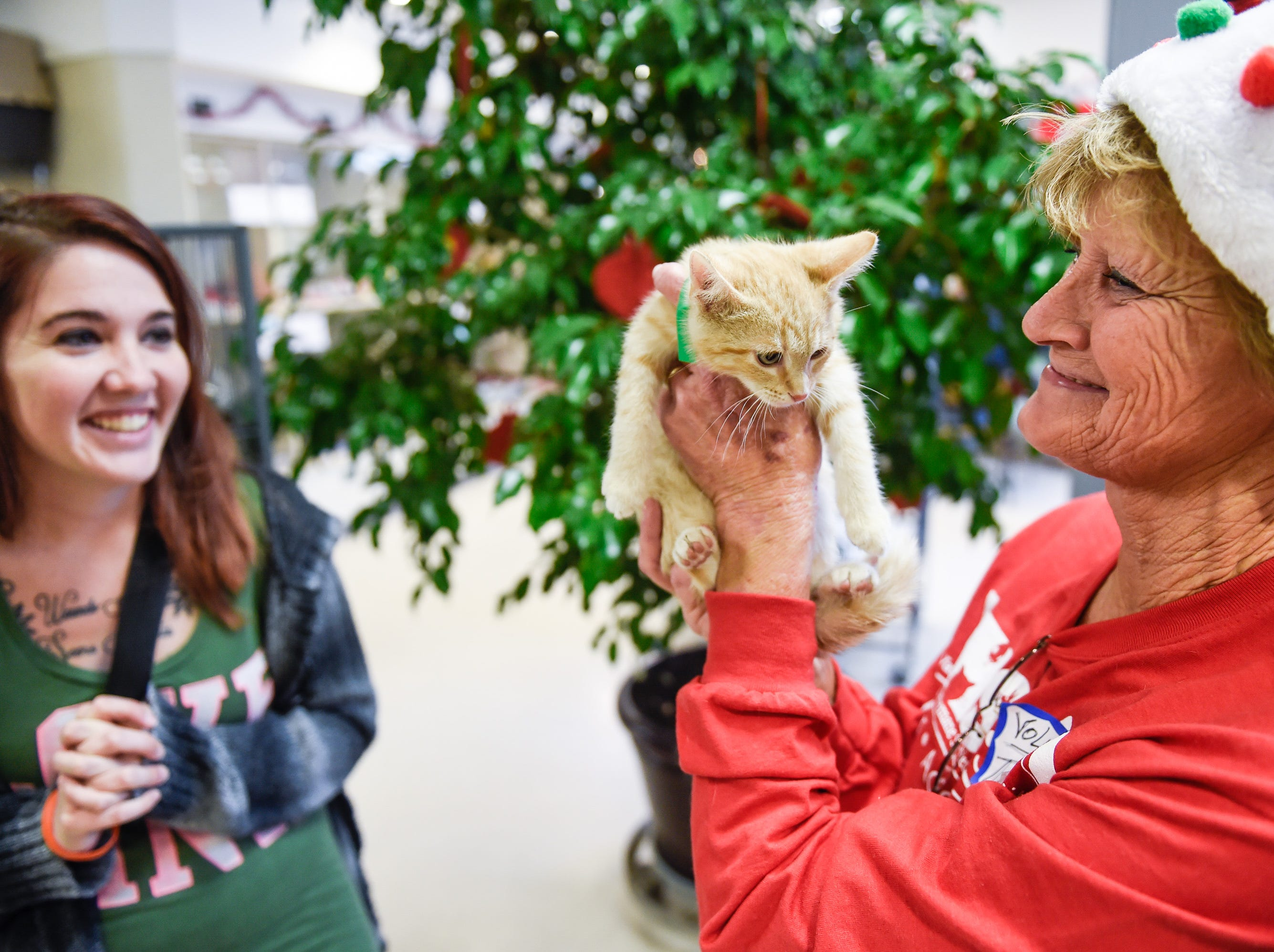 "VHS volunteer Theresa Driskill (right) admires the kitten Nicole Schauinger (left) has picked out for adoption at the shelter's ""Empty the Shelter"" adop-a-thon Friday morning, December 18, 2015. The shelter will continue the event through Saturday evening where they are waiving 100% of the adoption fees on dogs, cats, and rabbits.  Nicole said the kitten is a Christmas present for her kids."
