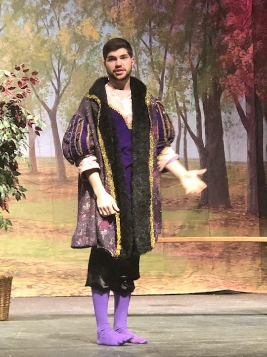 """St. Mary's Springs Academy student Sam Skiff rehearses a scene for """"Romeo and Juliet's Unofficial, Unnecessary Sequel,"""" which will hit the stage Friday, Nov. 30, and run through Sunday, Dec. 2."""
