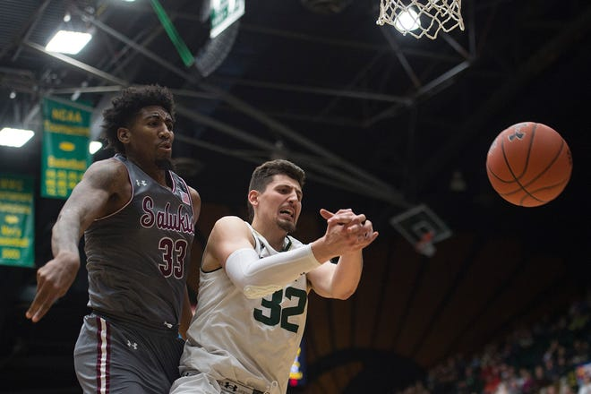 The CSU basketball team, shown in a file photo, lost to Long Beach State on Saturday despite 23 points and 22 rebounds from Nico Carvacho.