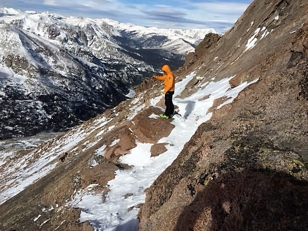 Ledge on Keyhole Route looking toward Keyhole November 27, 2018