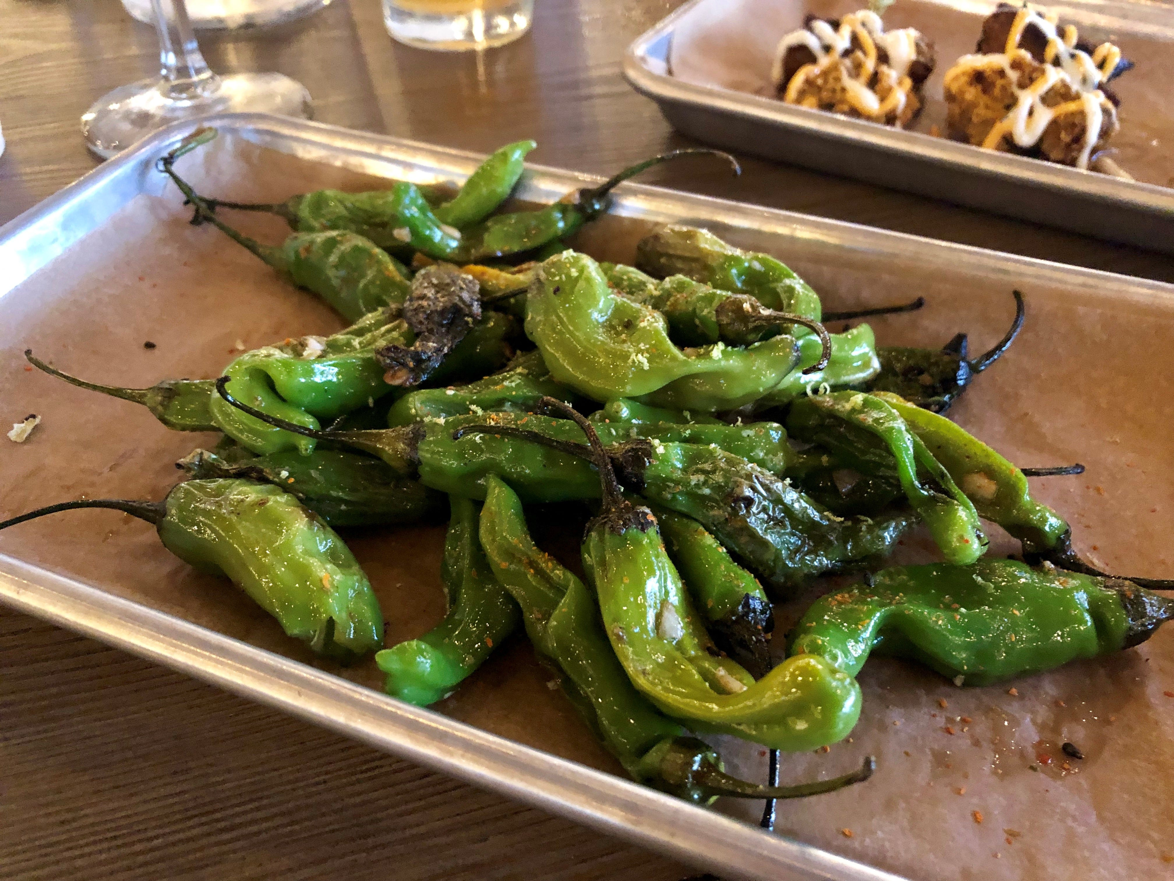 Shishito peppers with chili, sea salt and lime from Backyard Beer Garden in Cape Coral.