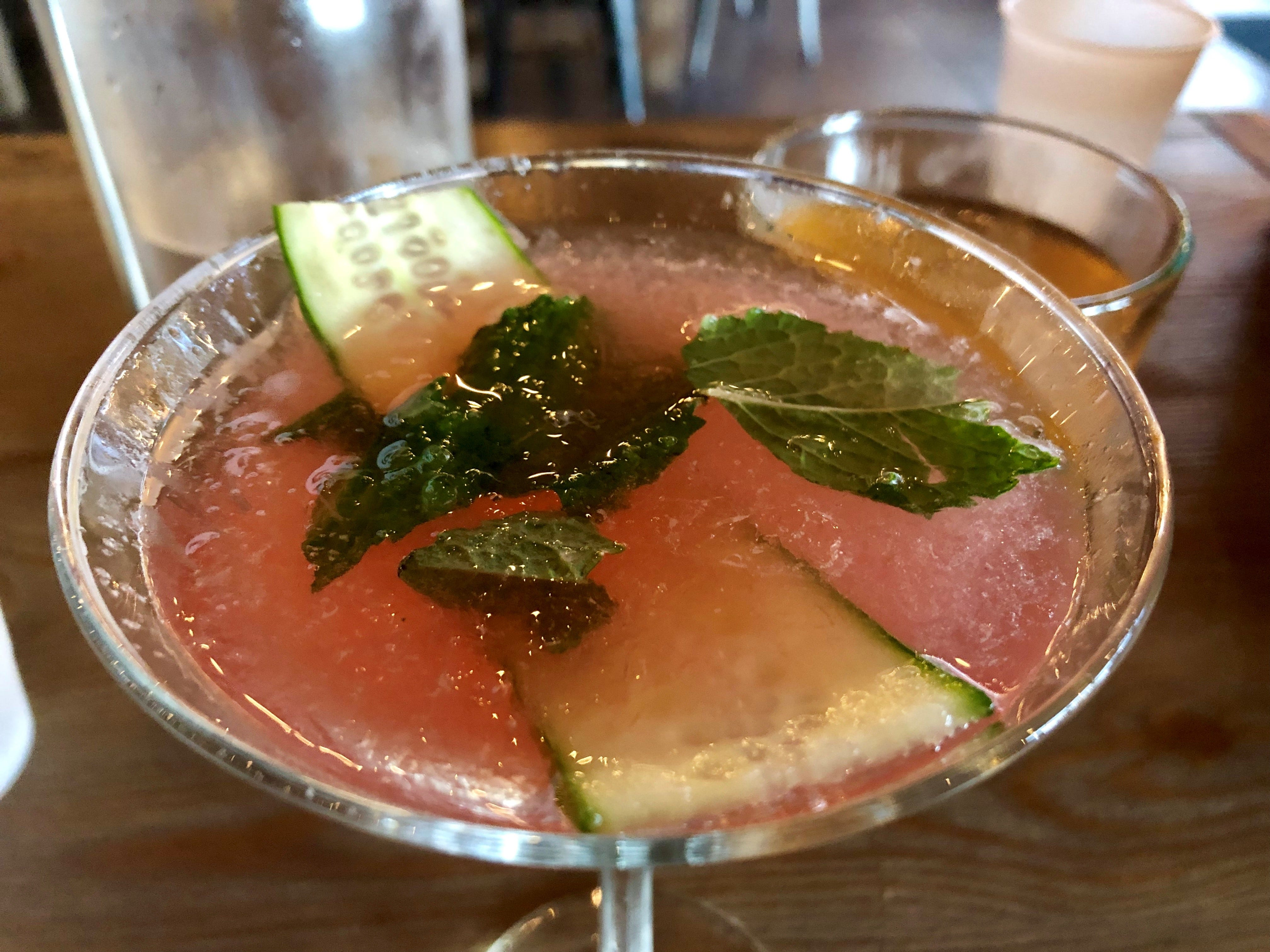 """Backyard Beer Garden's """"Other Side of the Pillow"""" cocktail is made with watermelon puree, cucumber vodka, mint, Triple Sec and fresh cucumber."""