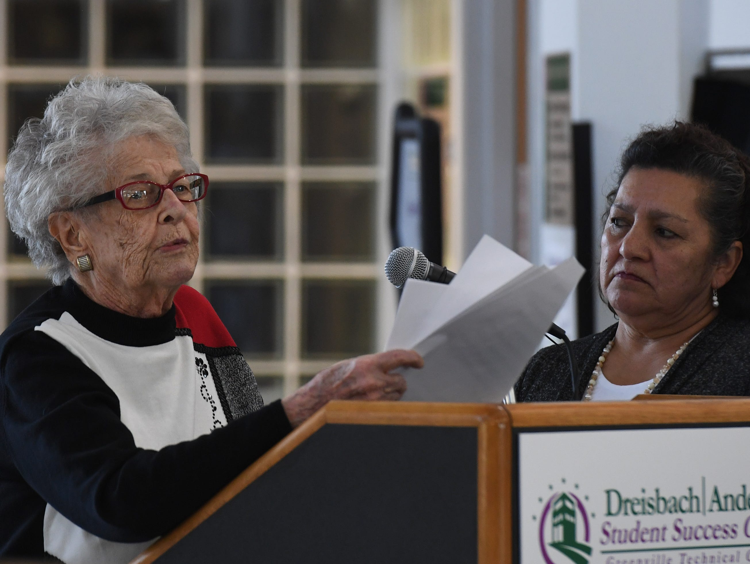 Dodie Anderson makes a speech at Greenville Technical College Wednesday, Nov. 28, 2018 after she donated $2 million to the Greenville Tech Foundation.