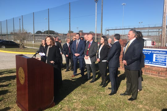 U.S. Attorney Sherri Lydon announces indictments of South Carolina inmates after an investigation of a 'sextortion' scheme aimed at servicemen.