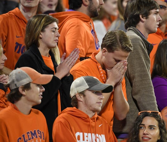 Clemson fans react after the Tigers turned the ball over to Pitt late in the 4th quarter on Saturday, November 12, 2016 at Clemson's Memorial Stadium.