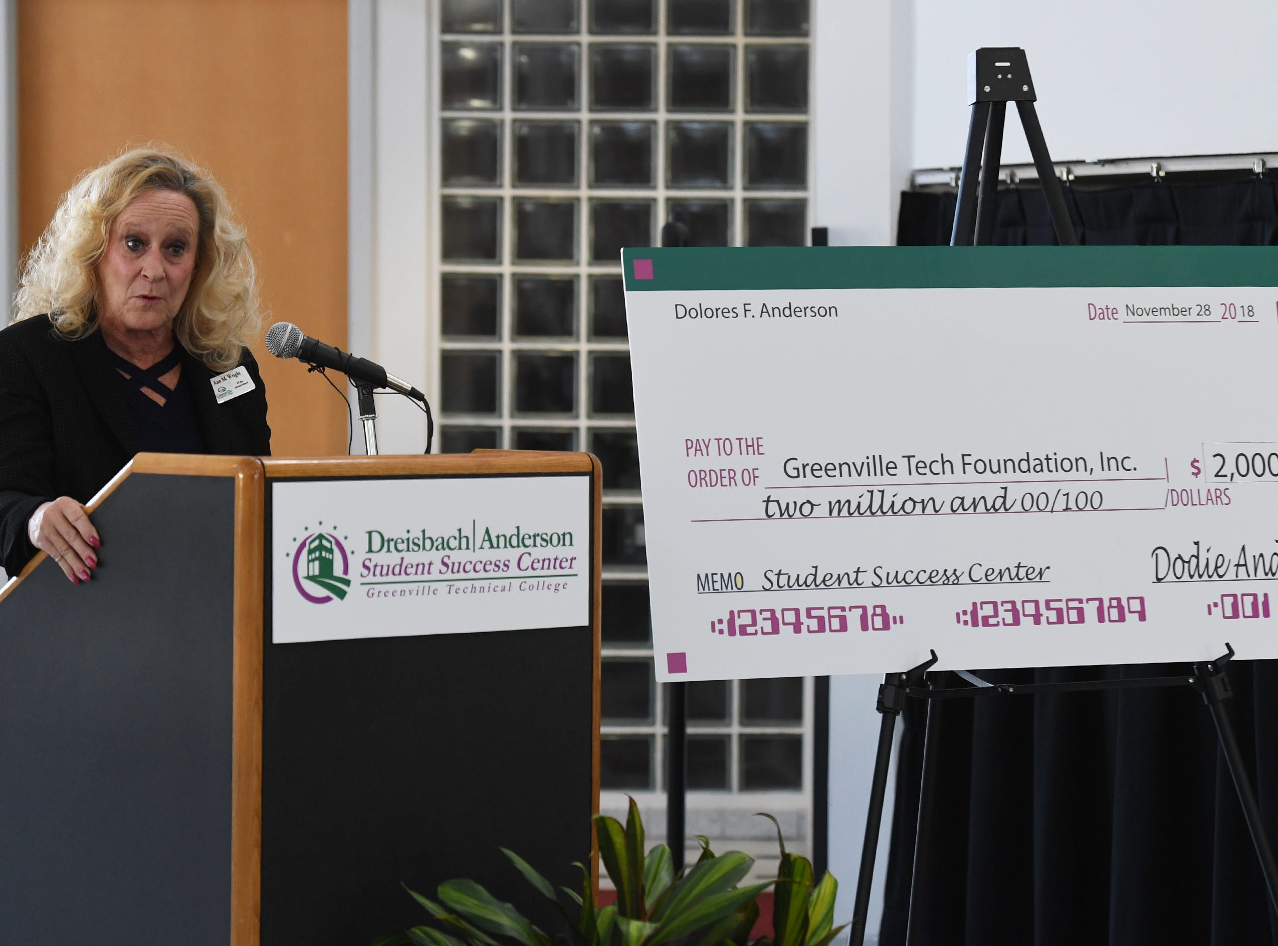 Ann Wright, vice president for advancement with the Greenville Tech Foundation, talks during an event celebrating a $2 million donation at Greenville Technical College Wednesday, Nov. 28, 2018. Dodie Anderson donated the money which will be used for The Dreisbach/Anderson Student Success Center.