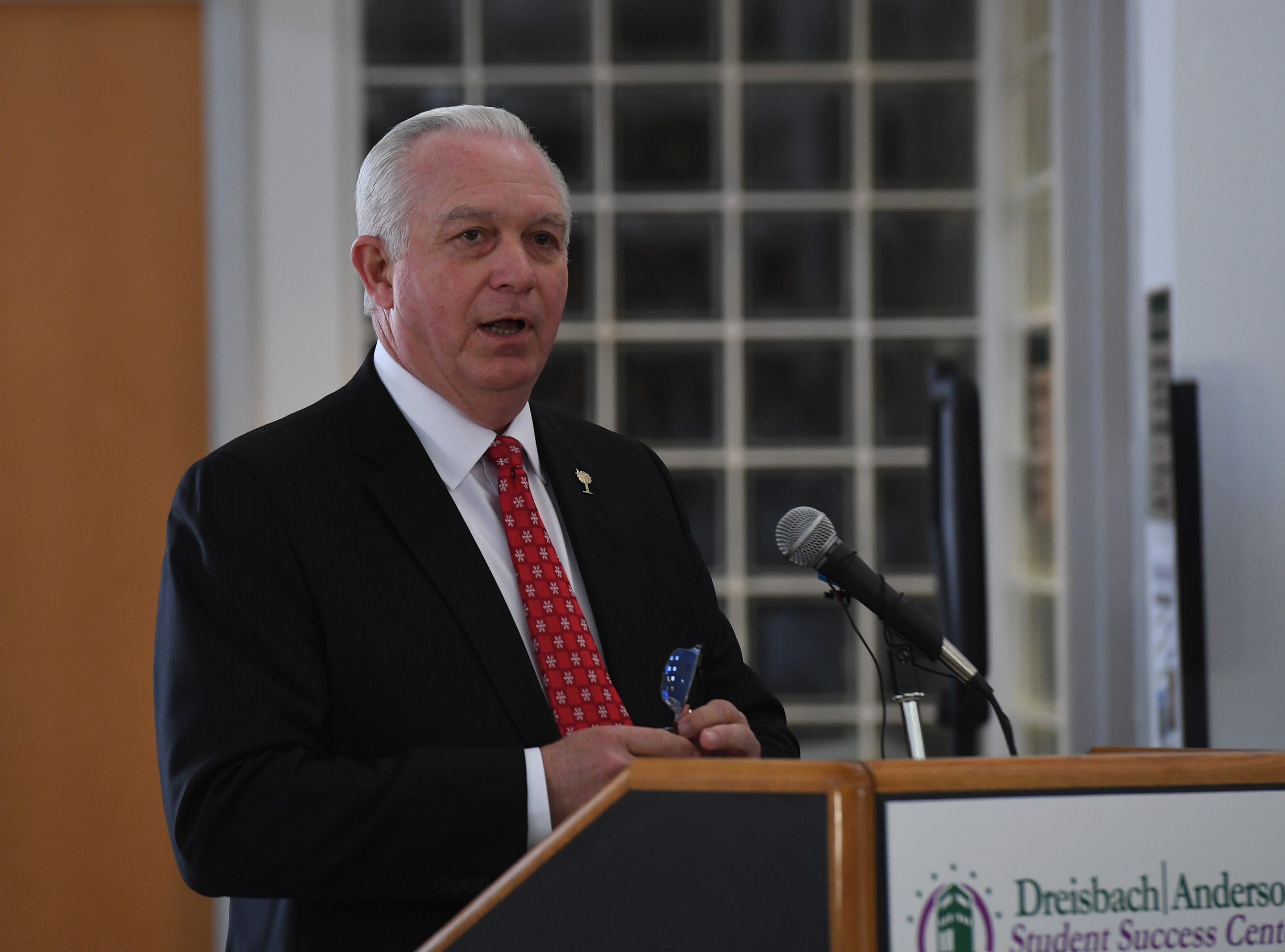 Dr. Keith Miller, president of Greenville Technical College, talks during an event celebrating a $2 million donation at Greenville Technical College Wednesday, Nov. 28, 2018. Dodie Anderson donated the money which will be used for The Dreisbach/Anderson Student Success Center.