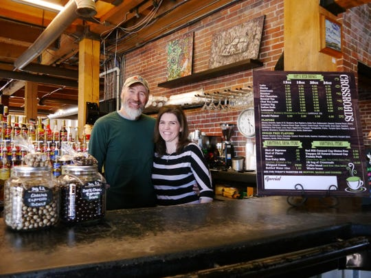 Crossroads Coffee owners Kyle and Genii Winter.