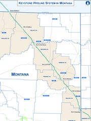Keystone XL Pipeline route through Montana.