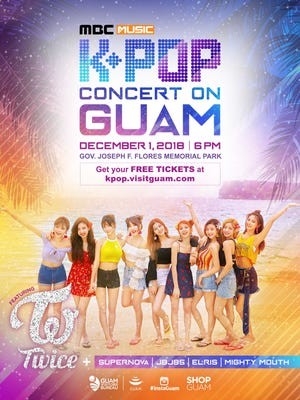 Five top K-pop bands will perform at a free concert on Guam, on Dec. 1, 2018.