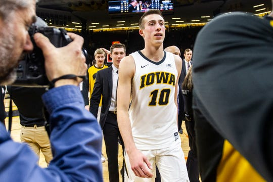 Iowa guard Joe Wieskamp (10) walks off the court after a NCAA men's basketball game on Tuesday, Nov. 27, 2018, at Carver-Hawkeye Arena in Iowa City. The Hawkeyes defeated the Panthers, 69-68.