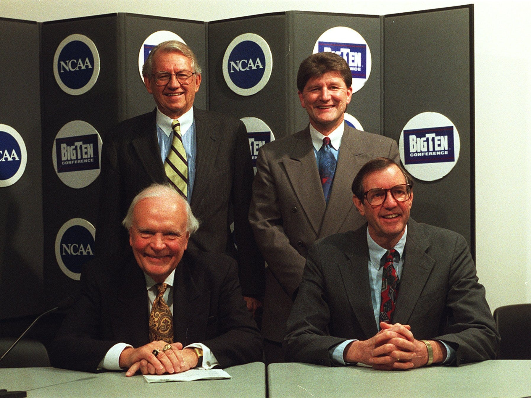 From 1996: Longtime Hawkeye broadcasters, clockwise from top left, Jim Zabel, Gary Dolphin, Ron Gonder and Bob Brooks. Register file photo