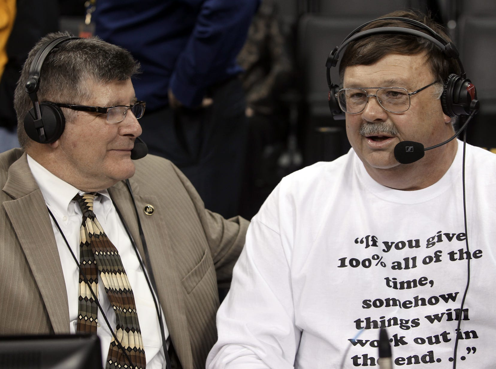 From 2013: Mike Street, right, talked with radio announcer Gary Dolphin, left, just before the Chris Street 20th anniversary game at Carver-Hawkeye Arena, Iowa vs. Wisconsin, on Saturday night Jan. 19th, 2013. Chris was a Iowa star basketball player who died Jan. 19, 1993.