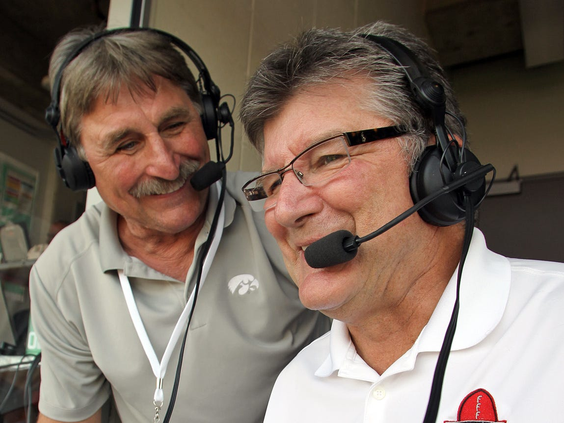 From 2013: Iowa radio analyst Ed Podolak, left, with broadcaster Gary Dolphin, right, says he's comfortable being removed from the game without the pressure on.
