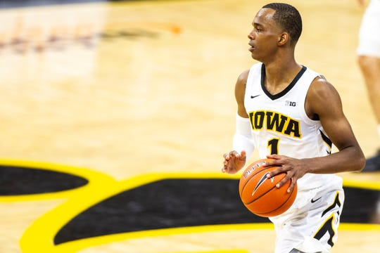 Iowa guard Maishe Dailey (1) takes the ball up court during a NCAA men's basketball game on Tuesday, Nov. 27, 2018, at Carver-Hawkeye Arena in Iowa City.