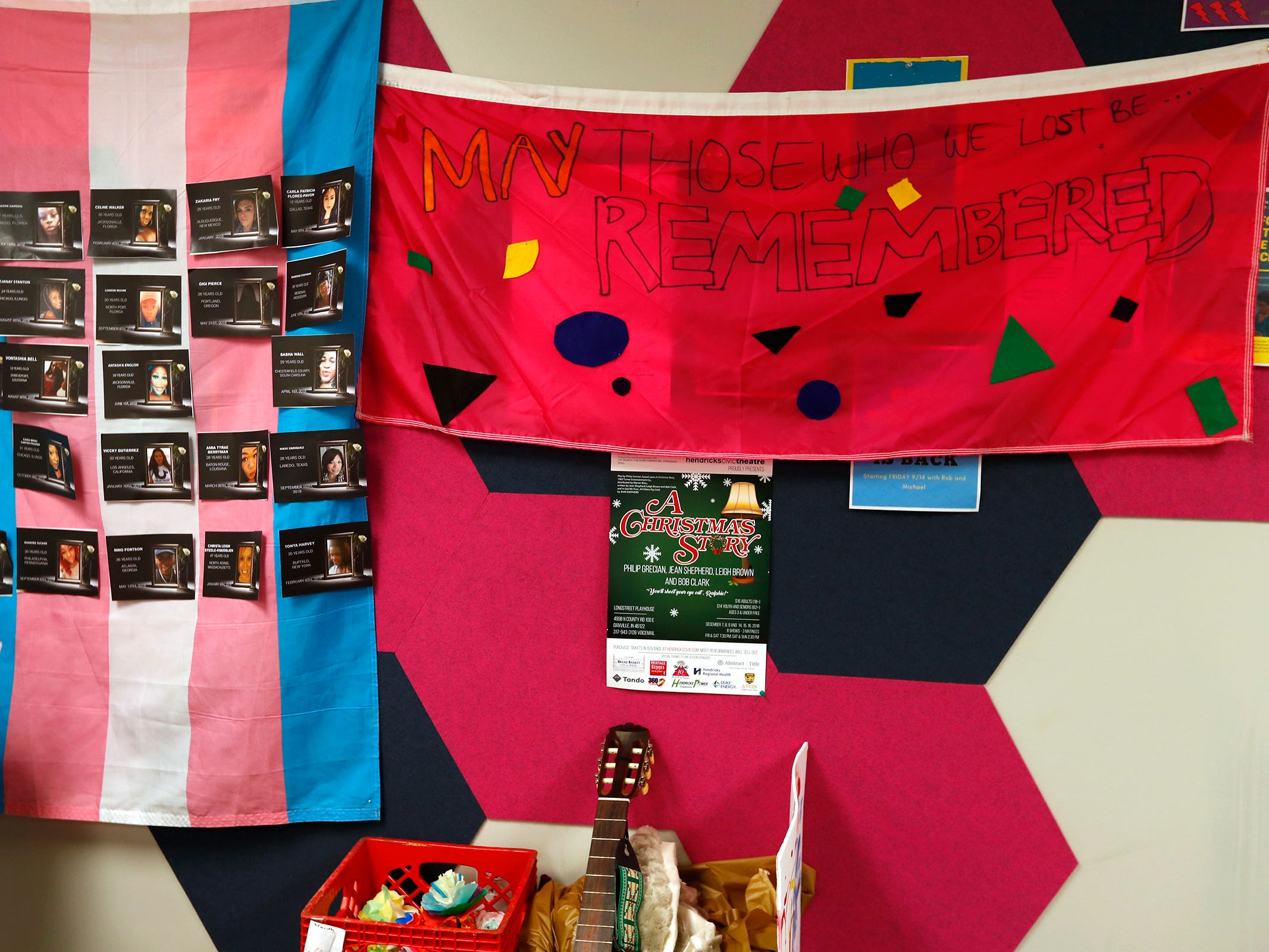 Banners remembering transgender people who were killed in 2018, are seen at Indiana Youth Group, Tuesday, Nov. 27, 2018.  The organization offers a safe drop-in center for LGBTQ+ youth, ages 12-20, and their straight ally friends, in the Indianapolis area.  Activities, tutoring, food and clothes pantries are included in the center.