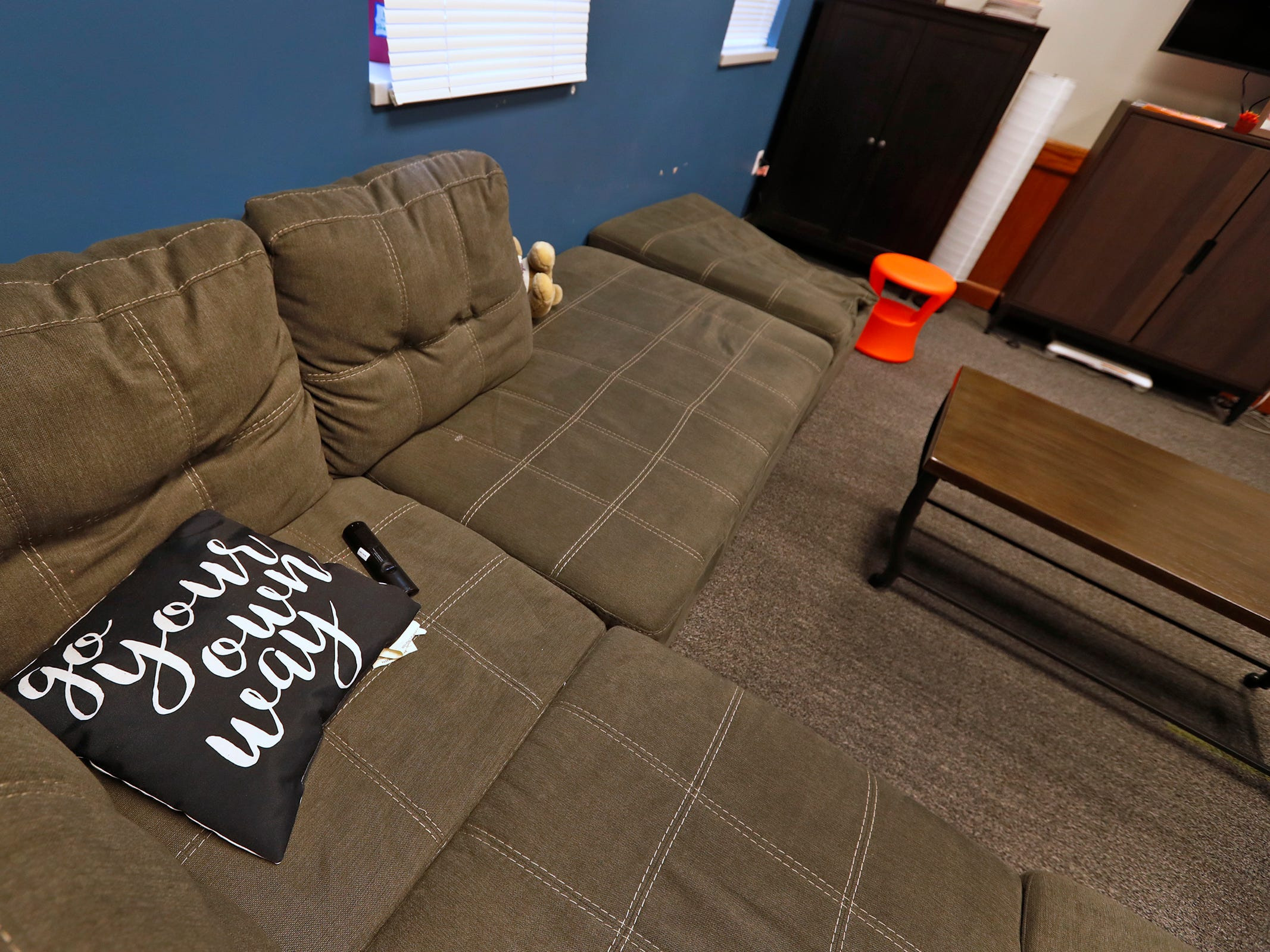 This is the Michael Overdorf and Amy Barragree Family Room, seen at the Indiana Youth Group building, Tuesday, Nov. 27, 2018.  The organization offers a safe drop-in center for LGBTQ+ youth, ages 12-20, and their straight ally friends, in the Indianapolis area.  Activities, tutoring, food and clothes pantries are included in the center.