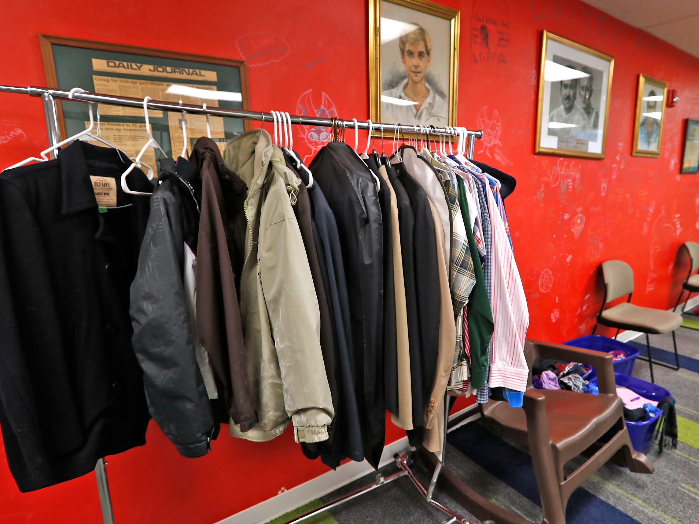 Coats are available for youth at the Indiana Youth Group building, Tuesday, Nov. 27, 2018.  The organization offers a safe drop-in center for LGBTQ+ youth, ages 12-20, and their straight ally friends, in the Indianapolis area.  Activities, tutoring, food and clothes pantries are included in the center.