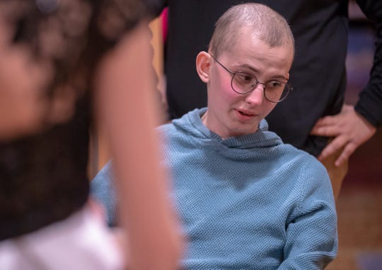 Tyler Trent chats with well-wishers at a fundraiser luncheon for Riley Children's Foundation's Be The Hope Now campaign, Indianapolis, Wednesday, Nov. 28, 2018. Trent, who has the rare bone cancer osteosarcoma, is in hospice care, and was given the Sagamore of the Wabash award, given to distinguished Hoosiers.