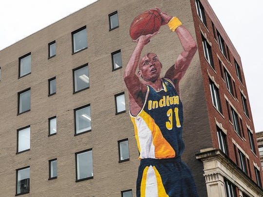 This Reggie Miller mural, painted by Pamela Bliss at 127 E. Michigan St., will be formally dedicated Dec. 4.
