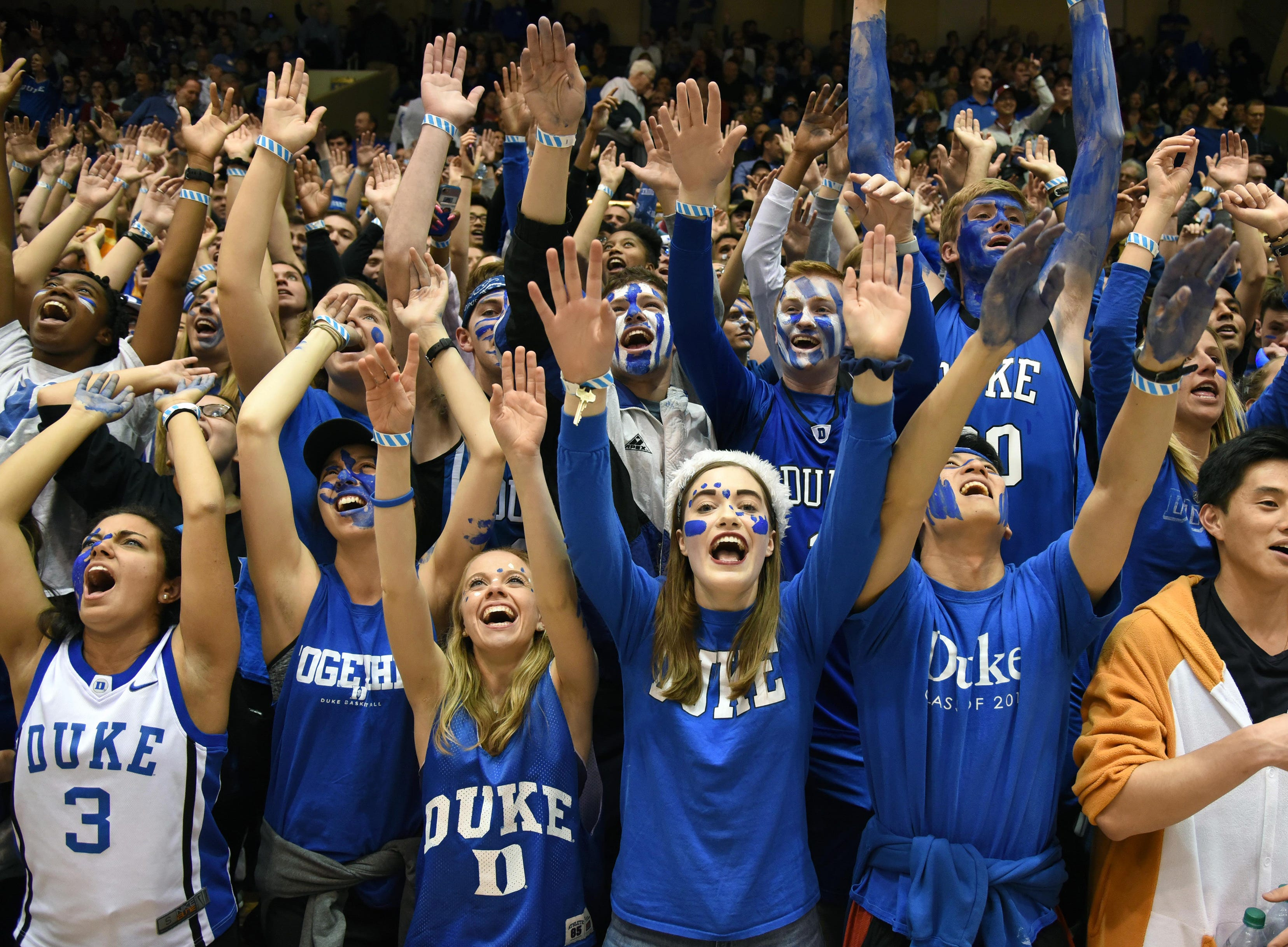 Nov 27, 2018; Durham, NC, USA; Duke Blue Devils fans cheer prior to a game against the Indiana Hoosiers at Cameron Indoor Stadium.