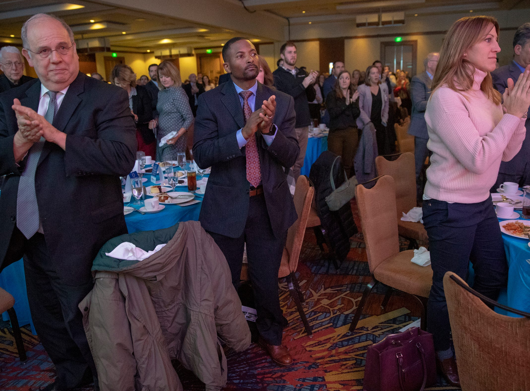 Audience members applaud at a fundraiser luncheon for Riley Children's Foundation's Be The Hope Now campaign, Indianapolis, Wednesday, Nov. 28, 2018. The charity has raised $121,487,.657 as of luncheon time.
