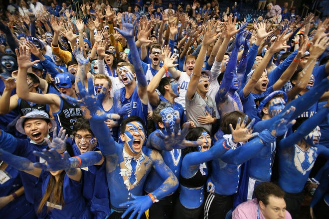 Durham, NC, USA;  The Cameron Crazies get pumped up before the start of the Duke Blue Devils vs. North Carolina Tar Heels game at Cameron Indoor Stadium.