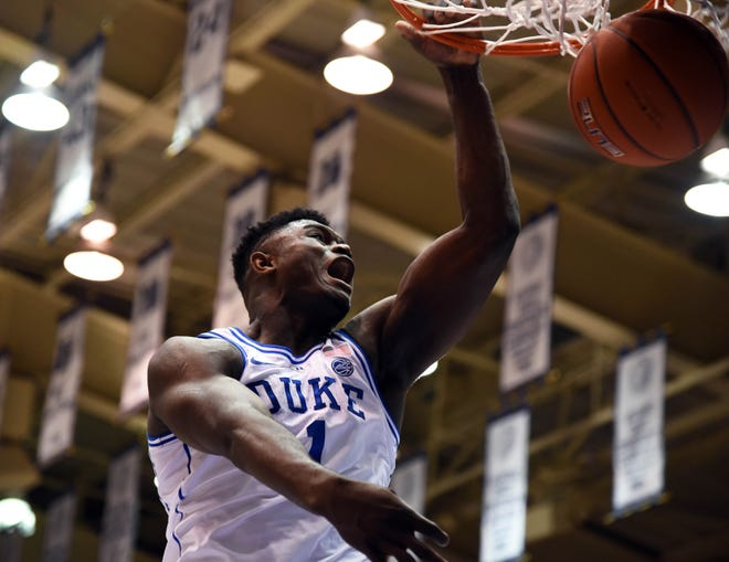Duke Blue Devils forward Zion Williamson (1) dunks during the first half against the Indiana Hoosiers at Cameron Indoor Stadium.